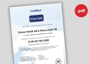 Prisma Tibro, Sweden | ISO SS-EN ISO 9001-2008 Certifikat