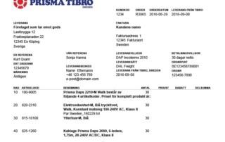 Prisma Tibro, Sweden | Prisma Daps | Orderbekräftelse