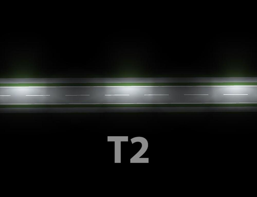 Lins T2 för gång- och cykelväg, elljusspår