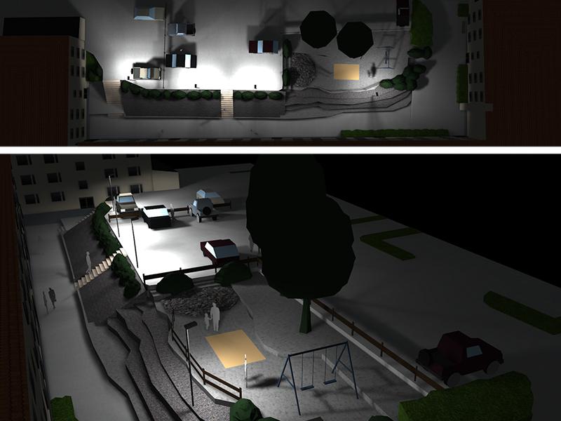 Prisma Tibro, Sweden   Prisma Eliott   LED gatubelysning  Vägbelysning   Säkerhet i motionsspår, elljusspår, motionsspår, löparspår   Ljusberäkning Bostadsområde i flera nivåer