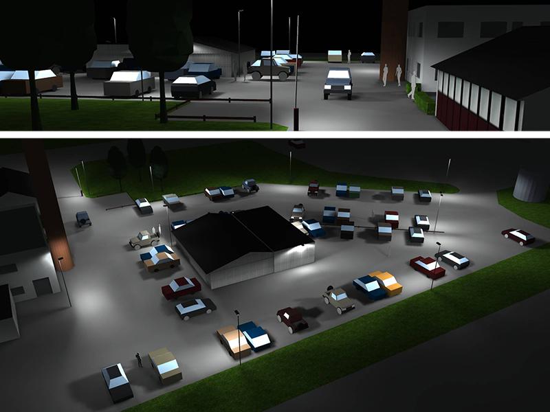 Prisma Tibro, Sweden   Prisma Eliott   LED gatubelysning  Vägbelysning   Säkerhet i motionsspår, elljusspår, motionsspår, löparspår   Ljusberäkning Industri