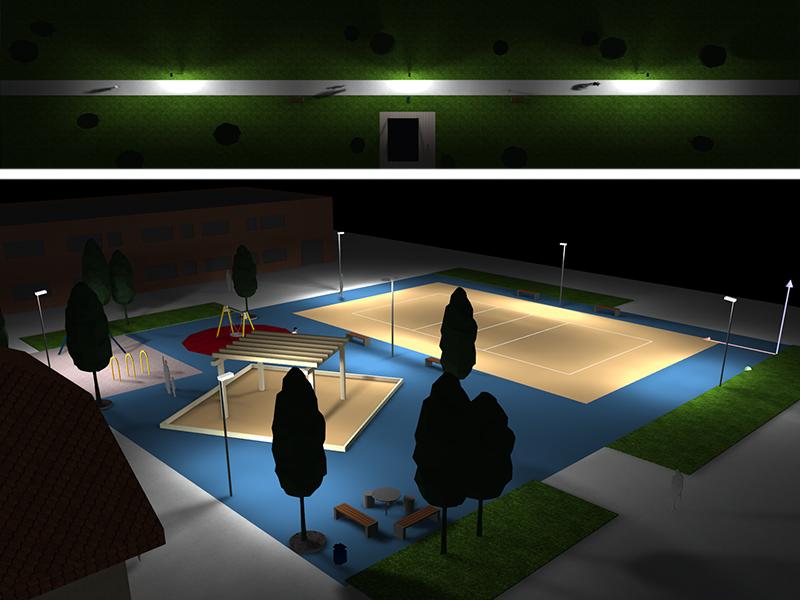 Prisma Tibro, Sweden   Prisma Eliott   LED gatubelysning  Vägbelysning   Säkerhet i motionsspår, elljusspår, motionsspår, löparspår   Ljusberäkning Skola