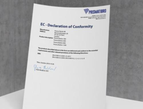 Prisma Button EC Declaration of Conformity
