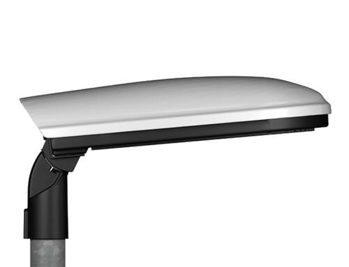 Prisma Light Eliott, Remote, Kåpa Slät Grå, Hus Svart, Glas Plan, Stolpe rak justerbart
